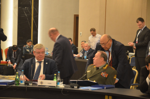 Members of the CSTO Council of Ministers of Defense during a joint meeting of the Council of Ministers of Foreign Affairs the Council of Ministers of Defense and Committee of Secretaries of Security Councils considered issues of military cooperation